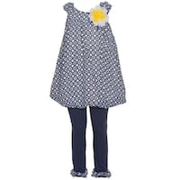 Rare Editions Baby Girls Navy Patterned Yellow Floral Accent 2 Pc Outfit