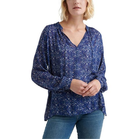 Lucky Brand Womens Printed Peasant Blouse