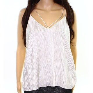 Bardot NEW Silver Women's Size 8/M Strappy Solid Pleated Cami Top