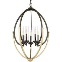 """Progress Lighting P400025 Evoke 5 Light 24-5/8"""" Wide Taper Candle Chandelier with Clear Glass Shades"""