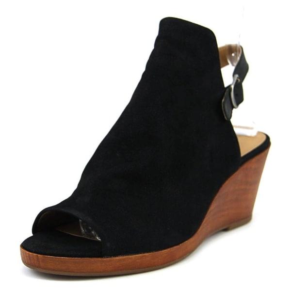 Lucky Brand Keralin Women Open Toe Leather Black Wedge Sandal