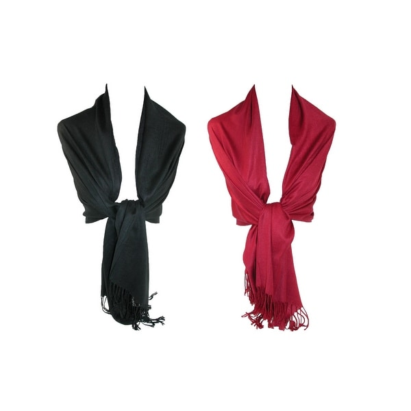 CTM® Women's Pashmina Shawl Wrap Scarf (Pack of 2) - One size