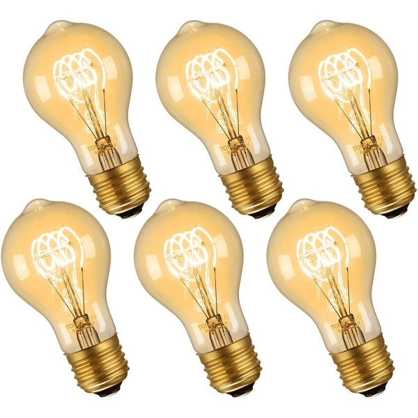 6 PACK E26 Vintage 60W A19 Bulbs, Dimmable Edison Style Bulbs,120V - 2700K Soft White. Opens flyout.