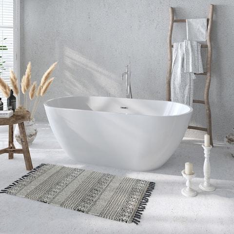 Freestanding Acrylic Bathtub 55-Inch with Overflow & Pop-up Drain