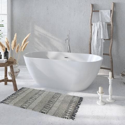 Freestanding Acrylic Bathtub 60-Inch with Overflow & Pop-up Drain