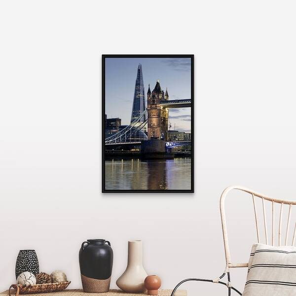 The Shard Stands Behind The Tower Bridge With The River Thames London England Black Float Frame Canvas Art Overstock 25518459