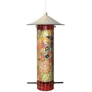 "Gardman Ba04851 Mosaic Glass Round Tube Seed Feeder, 6"" Long X 6"" Wide X 12"" High"