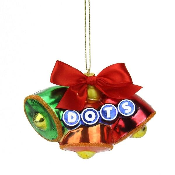 "3"" Candy Lane Tootsie Roll Dots Original Gumdrop Candies Triple Bell Glass Christmas Ornament - RED"