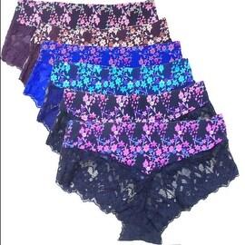 Women's 6 Pack Floral Print Bottom Lace Laser Cut No-Show Briefs Panties
