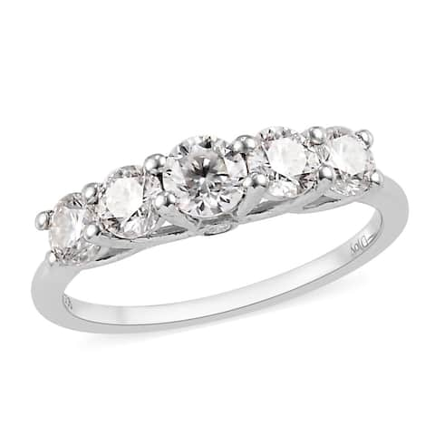 Platinum Over 925 Sterling Silver Moissanite 5 Stone Ring Ct 0.9