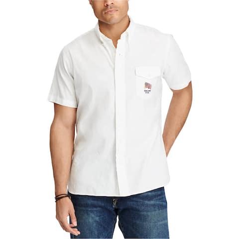 Ralph Lauren Mens SL Button Up Shirt, White, 3LT