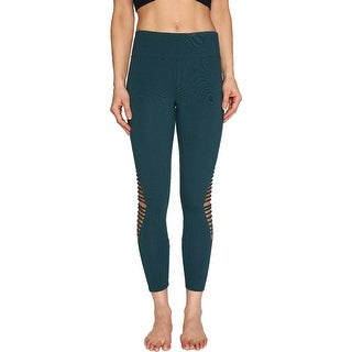 Link to Betsey Johnson Women's Strappy Inset Sweat Wicking 7/8 Activewear Fitness Leggings - Jade Similar Items in Athletic Clothing