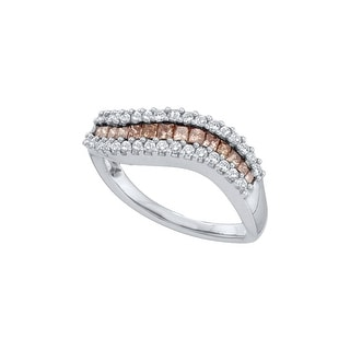 14k White Gold Cognac-brown Colored Princess Diamond Womens Curved Contoured Fine Band 2/3 Cttw - Brown