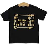 Little Girls Black Flower Girl Print Short Sleeve T-Shirt