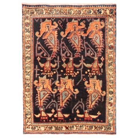 ECARPETGALLERY Hand-knotted Melis Vintage Dark Navy Wool Rug - 3'5 x 4'10