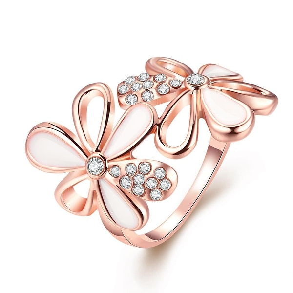 Rose Gold Plated Double Flower Ring