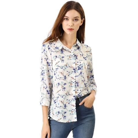 Unique Bargains Women's Point Collar Button Down Floral Shirt - White