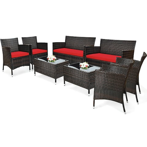Costway 8PCS Rattan Patio Furniture Set Cushioned Sofa Chair Coffee