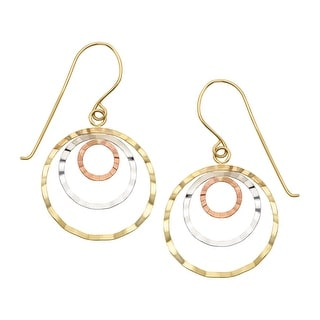Just Gold Concentric Hoop Earrings in 14K Three-Tone Gold