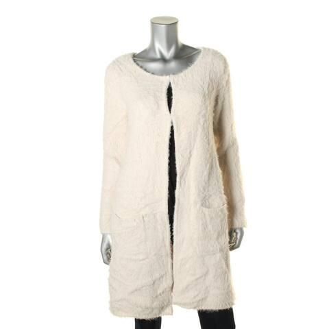 Sanctuary Womens Duster Sweater Faux Fur Midi