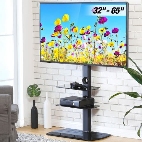 FITUEYES Swivel Mount Floor TV Stand for 32-65 Inches TV Glass Base - 32 - 65 INCHES