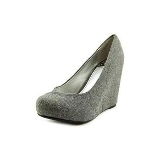 Fergalicious Dreamy Women Open Toe Canvas Gray Wedge Heel