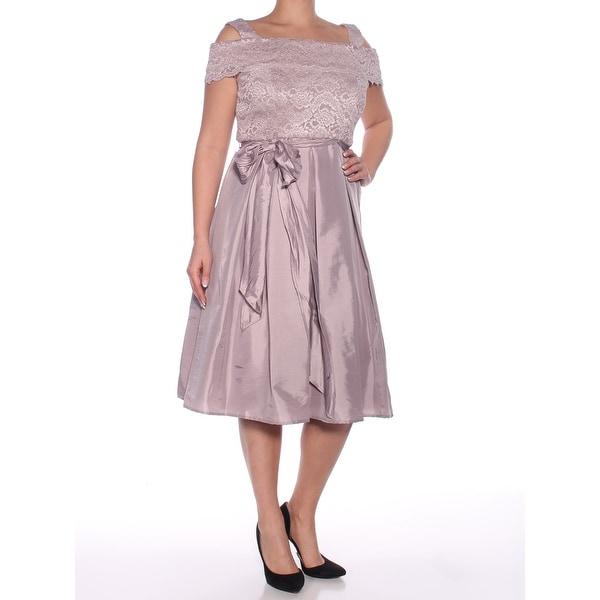 R&M RICHARDS Womens Purple Lace Sleeveless Off Shoulder Below The Knee Empire Waist Prom Dress Size: 12