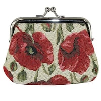 CTM® Women's Poppy Print Tapestry Coin Purse Wallet - One size