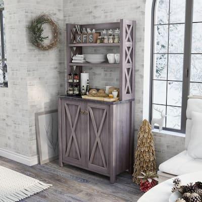 Furniture of America Figg Rustic Grey Multi-shelf Microwave Cabinet