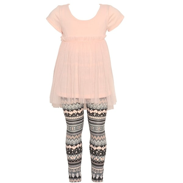 ee5f40efca Shop Little Girls Blush Short Sleeve Top Tribal Print 2 Pc Legging Outfit -  Free Shipping On Orders Over  45 - Overstock.com - 18533267
