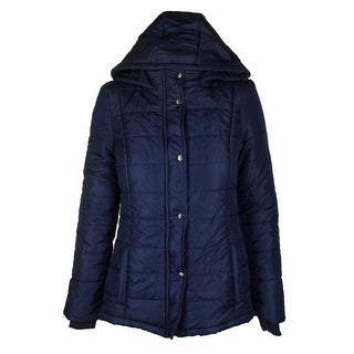 Rampage Juniors Midnight Blue Hooded Full Zip And Snap Puffer Coat XS