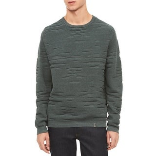 Calvin Klein Solid Green Mens Size 2XL Ribbed Crewneck Sweater
