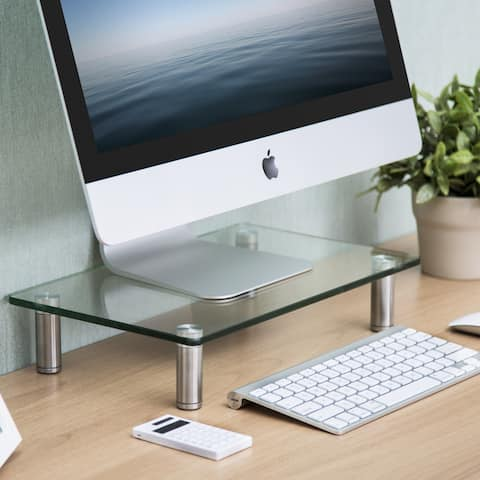 Fitueyes Glass Monitor Stand Computer Laptop TV Screen Riser Desk Organiser