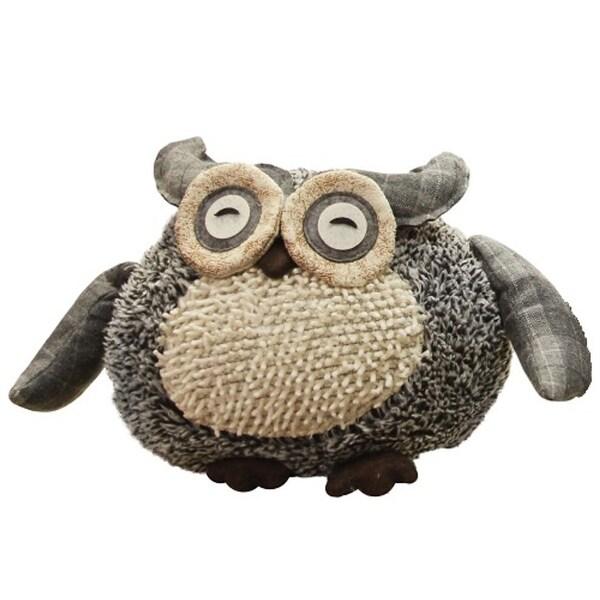 "12"" Charming Gray Plaid Owl w/ Textured Ivory Plush Table Top Christmas Figure"