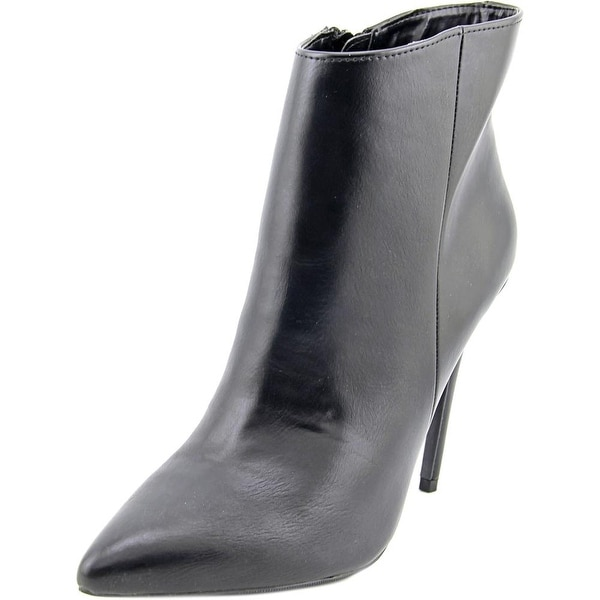 Famous Name Brand Promise Women Pointed Toe Synthetic Black Ankle Boot