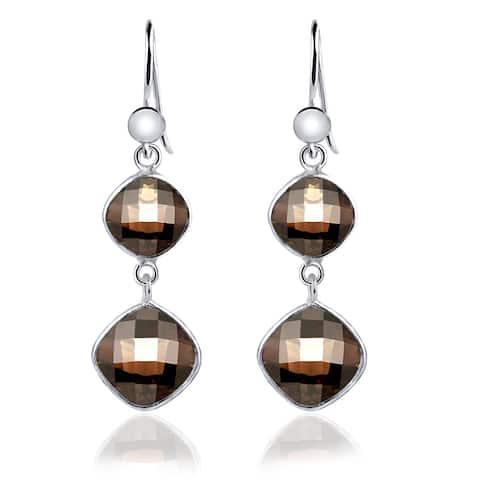 Smoky Quartz Sterling Silver Cushion Dangle Earrings By Essence Jewelry