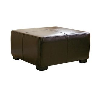 Caroline Dark Brown Full Leather Square Ottoman Footstool