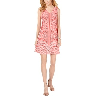 Link to Signature By Robbie Bee Womens Petites Sheath Dress Double V Printed - Coral/Ivory Similar Items in Dresses