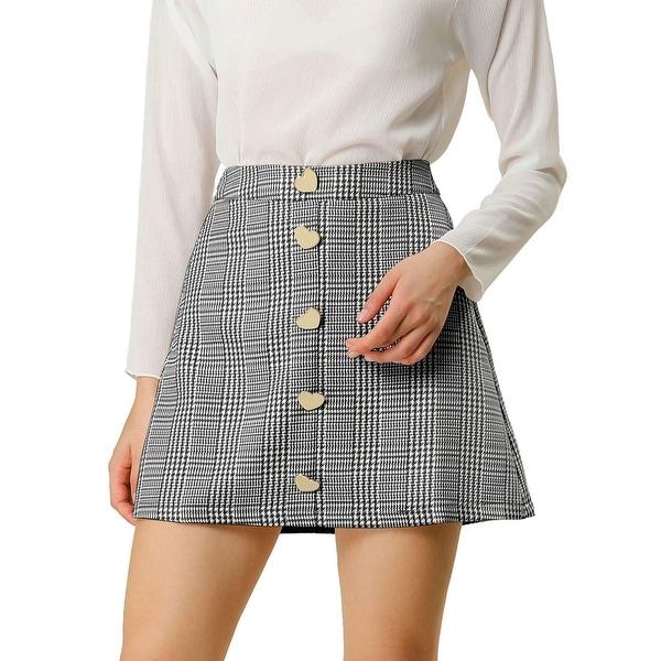 Women's Houndstooth Button Decor High Waist A-Line Mini Skirt. Opens flyout.