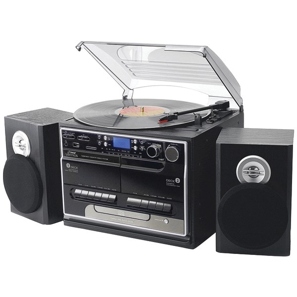 PYLE HOME PTTCSM70BT 3-Speed Turntable with CD & MP3 Player, Dual Cassette Decks, Radio & Bluetooth(R)