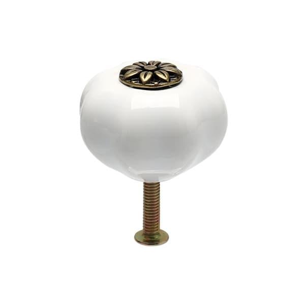 Ceramic Knobs Drawer Pumpkin Shape Pull Handle Furniture Cabinet Door Cupboard Wardrobe DresserAccessories White - 1pcs