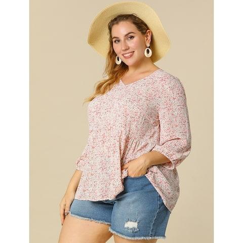 Women's Plus Size Tops Floral Ruffle Flowy Peplum Top - Pink