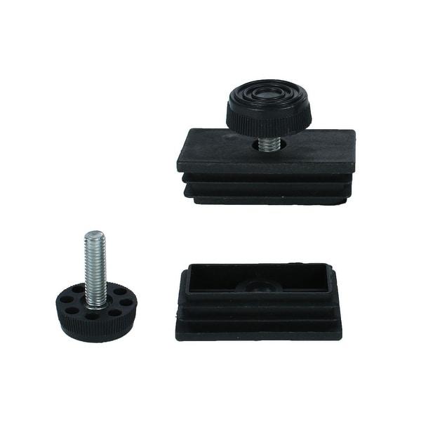 Leveling Feet 25 x 50mm Rectangle Tube Inserts Kit Furniture Glide Adjustable Leveler for Cabinet Leg 2 Sets