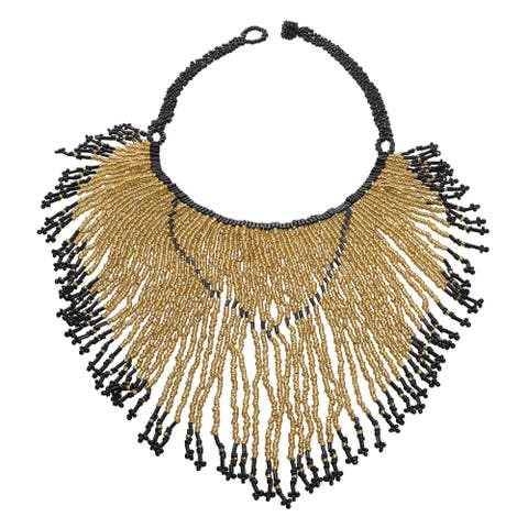 Shop LC Goldtone Beaded Necklace Jewelry Gift Size 14-20.50 Inch - Size (14-20.50''