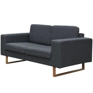 vidaXL 2-Seater Sofa Fabric Dark Gray