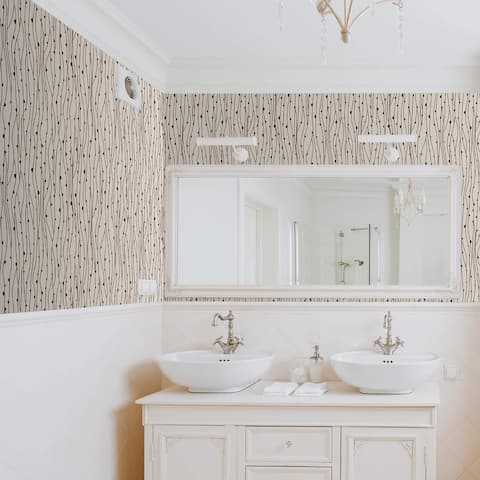 Beige and Black Lines Basic Peel and Stick Removable Wallpaper 9413