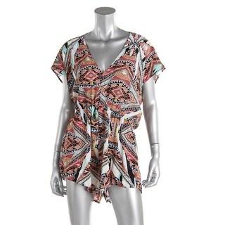Jessica Simpson Womens Short Sleeves Printed Romper - L