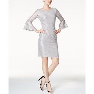 Calvin Klein Womens Lace Bell-Sleeve Sheath Dress