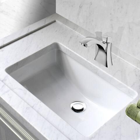 Highpoint Collection White Ceramic Undermount Vanity Sink