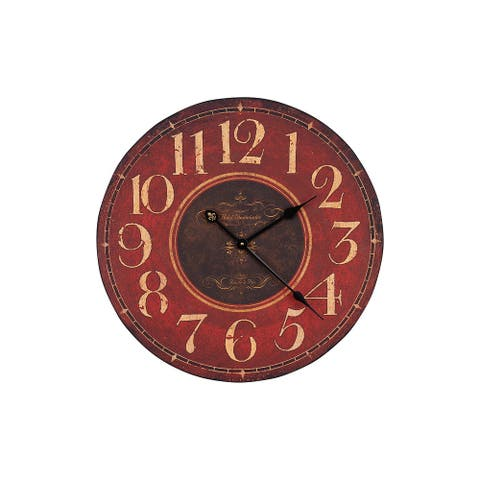 Wooden Wall Clock, Red